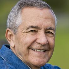 Happy senior man outdoors